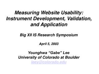 Measuring Website Usability: Instrument Development, Validation, and Application