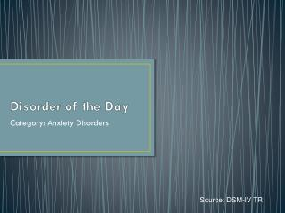 Disorder of the Day