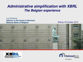 Administrative simplification  with  XBRL The  Belgian experience