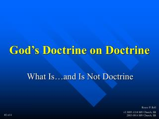 God's Doctrine on Doctrine