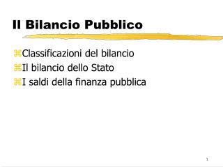 Il Bilancio Pubblico