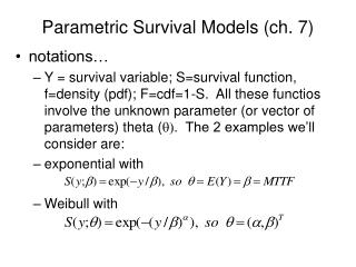 Parametric Survival Models (ch. 7)