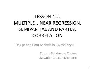 LESSON 4.2. MULTIPLE LINEAR REGRESSION. SEMIPARTIAL AND PARTIAL CORRELATION