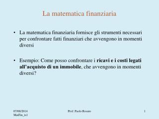 La matematica finanziaria