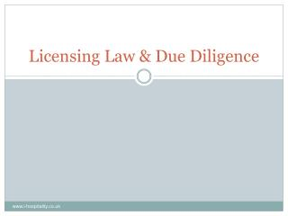 Licensing Law & Due Diligence