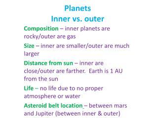 Planets Inner vs. outer