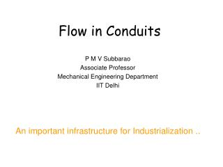 Flow in Conduits