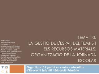 Organització  i  gestió  en centres  educatius d'Educació  Infantil i  Educació Primària
