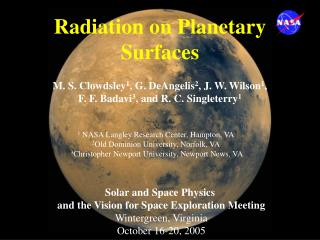 Radiation on Planetary Surfaces