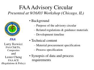 FAA Advisory Circular  Presented at 9/16/03 Workshop (Chicago, IL)
