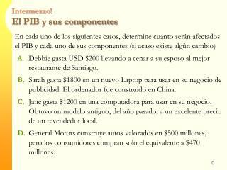 Intermezzo! El PIB y sus componentes