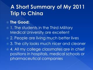 A Short Summary of My 2011 Trip to China