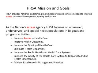 HRSA Mission and Goals