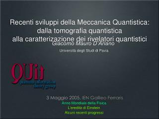 3 Maggio 2005, IEN Galileo Ferraris Anno Mondiale della Fisica L'eredità di Einstein