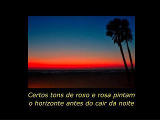 Certos tons de roxo e rosa pintam o horizonte antes do cair da noite