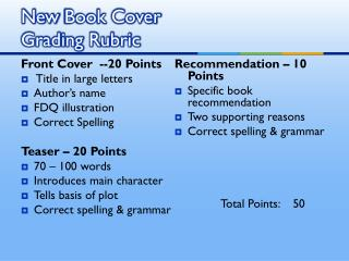 New  Book Cover Grading Rubric