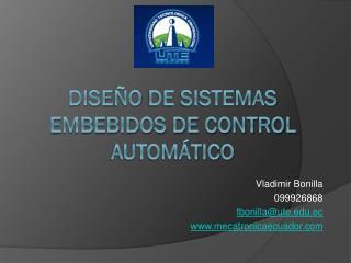 Dise ño  de Sistemas embebidos de Control Automático