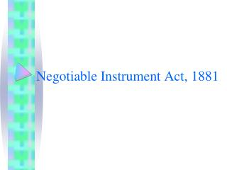 Negotiable Instrument Act, 1881