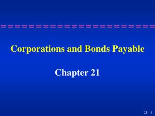 Corporations and Bonds Payable