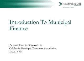 Introduction To Municipal Finance