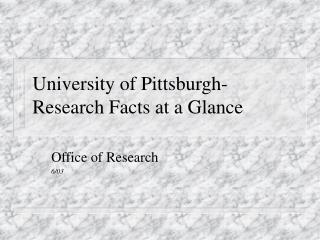 University of Pittsburgh- Research Facts at a Glance