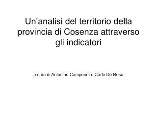 Un'analisi del territorio della provincia di Cosenza attraverso gli indicatori