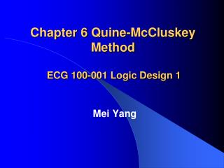 Chapter 6  Quine-McCluskey  Method