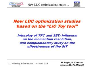 New LDC optimization studies based on the �LiC Toy tool�