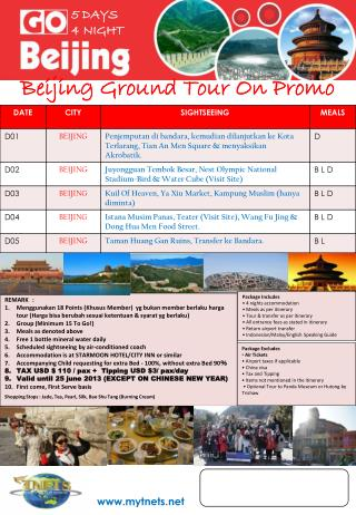 Beijing Ground Tour On Promo