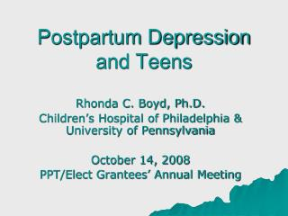 Postpartum Depression and Teens