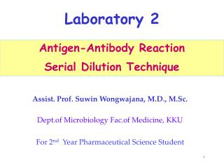 Antigen-Antibody Reaction Serial Dilution Technique
