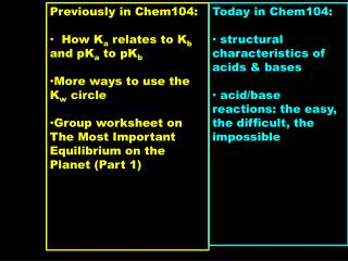 Previously in Chem104:   How K a  relates to K b  and pK a  to pK b
