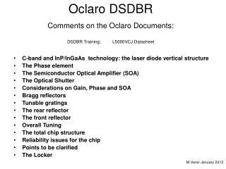 Oclaro DSDBR Comments on the Oclaro Documents: DSDBR Training; L5000VCJ Datasheet