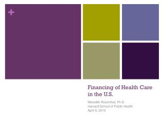 Financing of Health Care in the U.S.