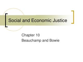 Social and Economic Justice