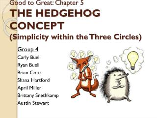 Good to Great: Chapter 5  THE HEDGEHOG CONCEPT (Simplicity within the Three Circles)