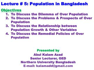 Lecture # 5: Population in Bangladesh
