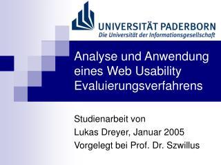 Analyse und Anwendung eines Web Usability Evaluierungsverfahrens