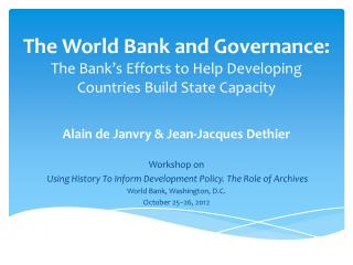 Alain de  Janvry  & Jean-Jacques  Dethier Workshop on