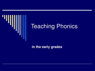 Teaching Phonics