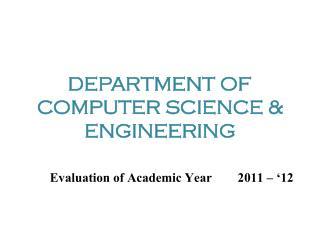DEPARTMENT OF COMPUTER SCIENCE & ENGINEERING