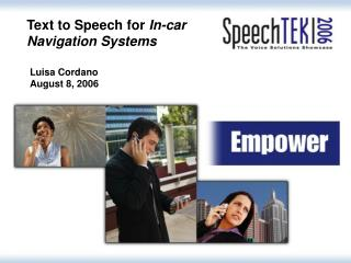Text to Speech for  In-car Navigation Systems
