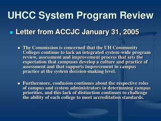 UHCC System Program Review