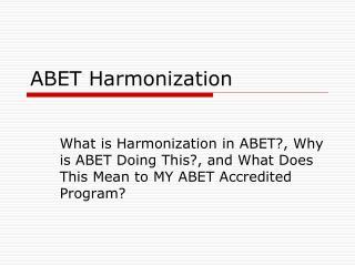 ABET Harmonization
