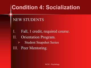 Condition 4: Socialization