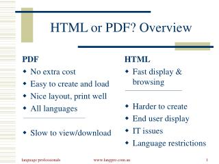 HTML or PDF? Overview