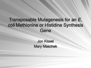 Transposable Mutagenesis for an  E. coli  Methionine or Histidine Synthesis Gene