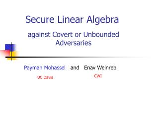 Secure Linear Algebra