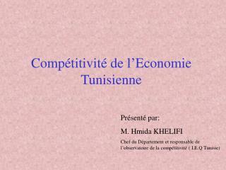 Compétitivité de l'Economie Tunisienne