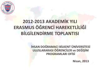 2012-2013 AKADEMİK YILI  ERASMUS ÖĞRENCİ HAREKETLİLİĞİ  BİLGİLENDİRME TOPLANTISI